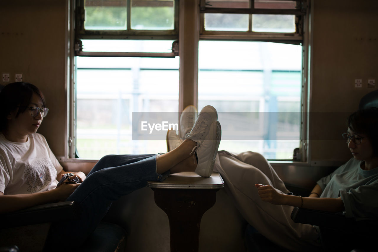 Young women relaxing while traveling in train