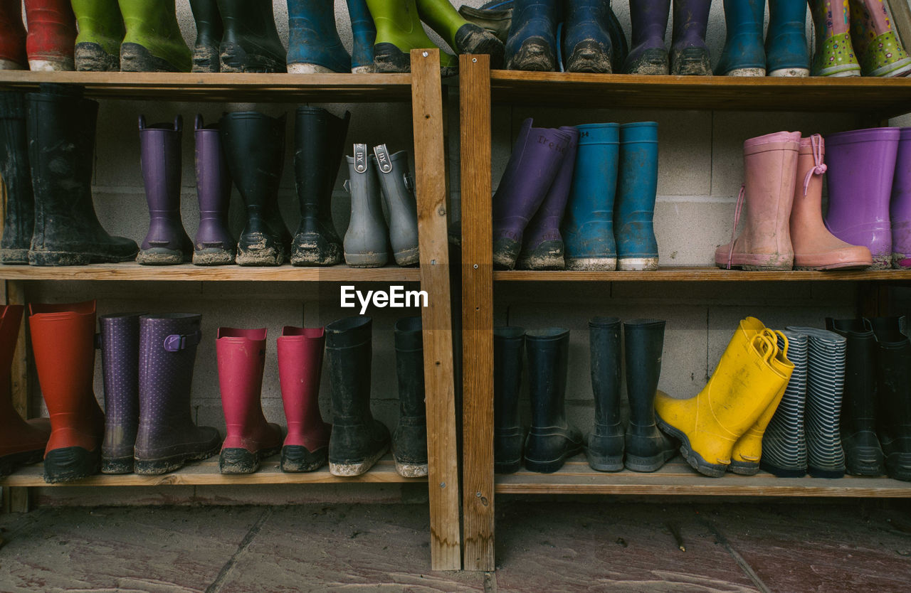 Various Boots In Shelf
