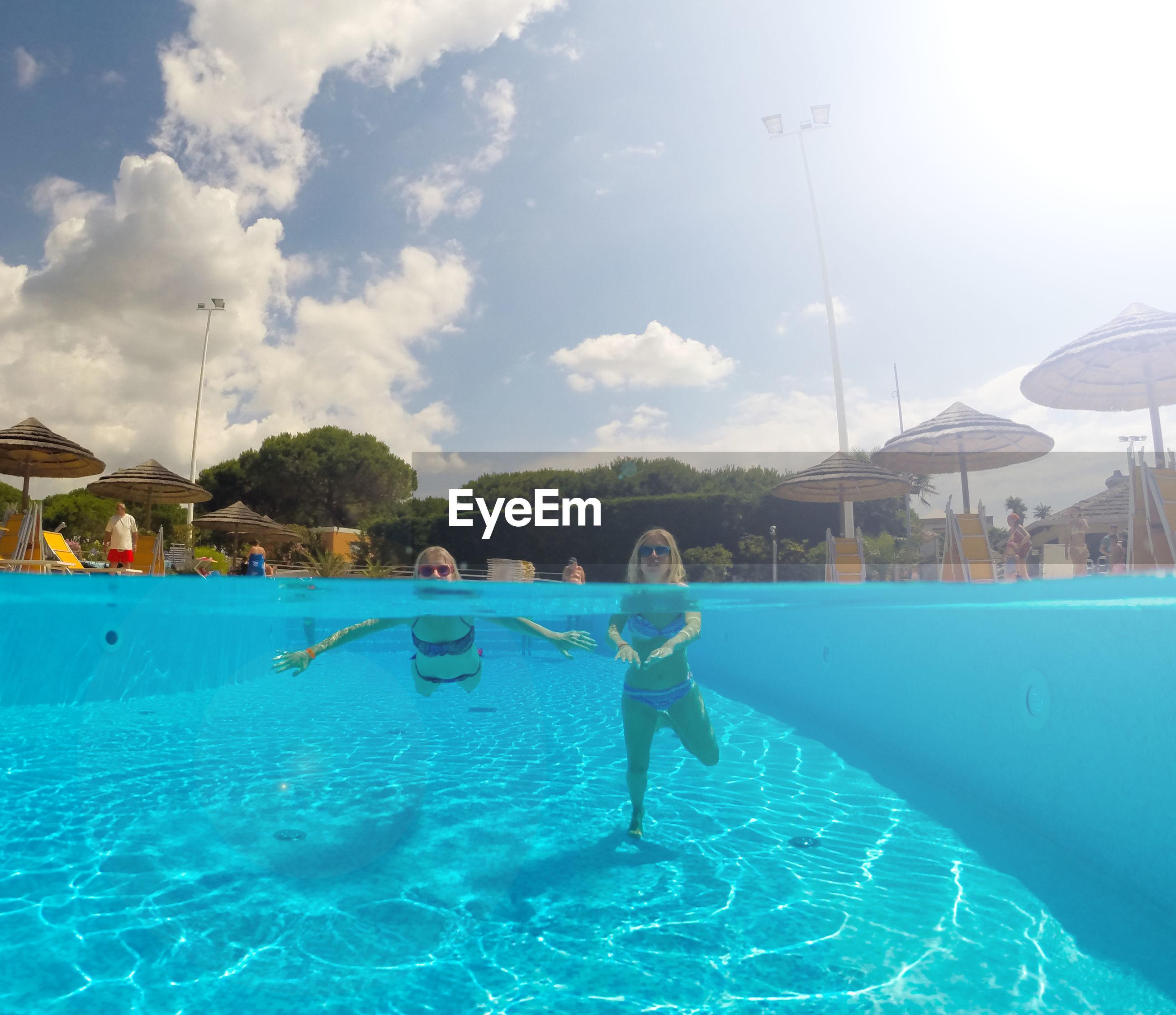 Portrait of women swimming in pool