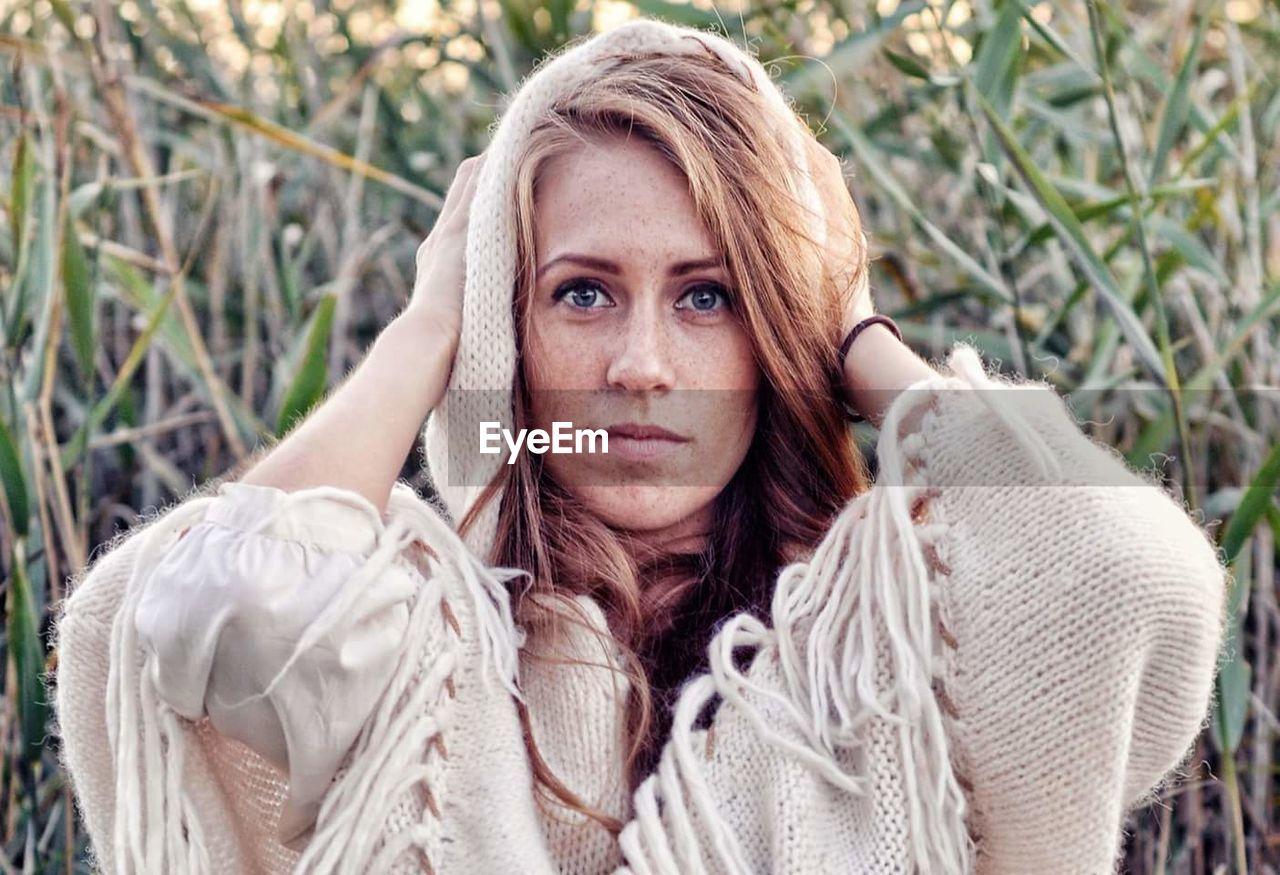 Portrait Of Woman Wearing Knitwear
