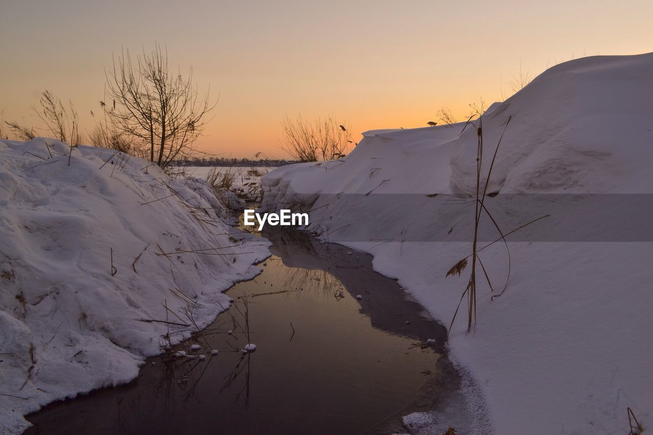 winter, cold temperature, beauty in nature, scenics, tranquil scene, snow, tranquility, nature, no people, sunset, outdoors, sky, landscape, day