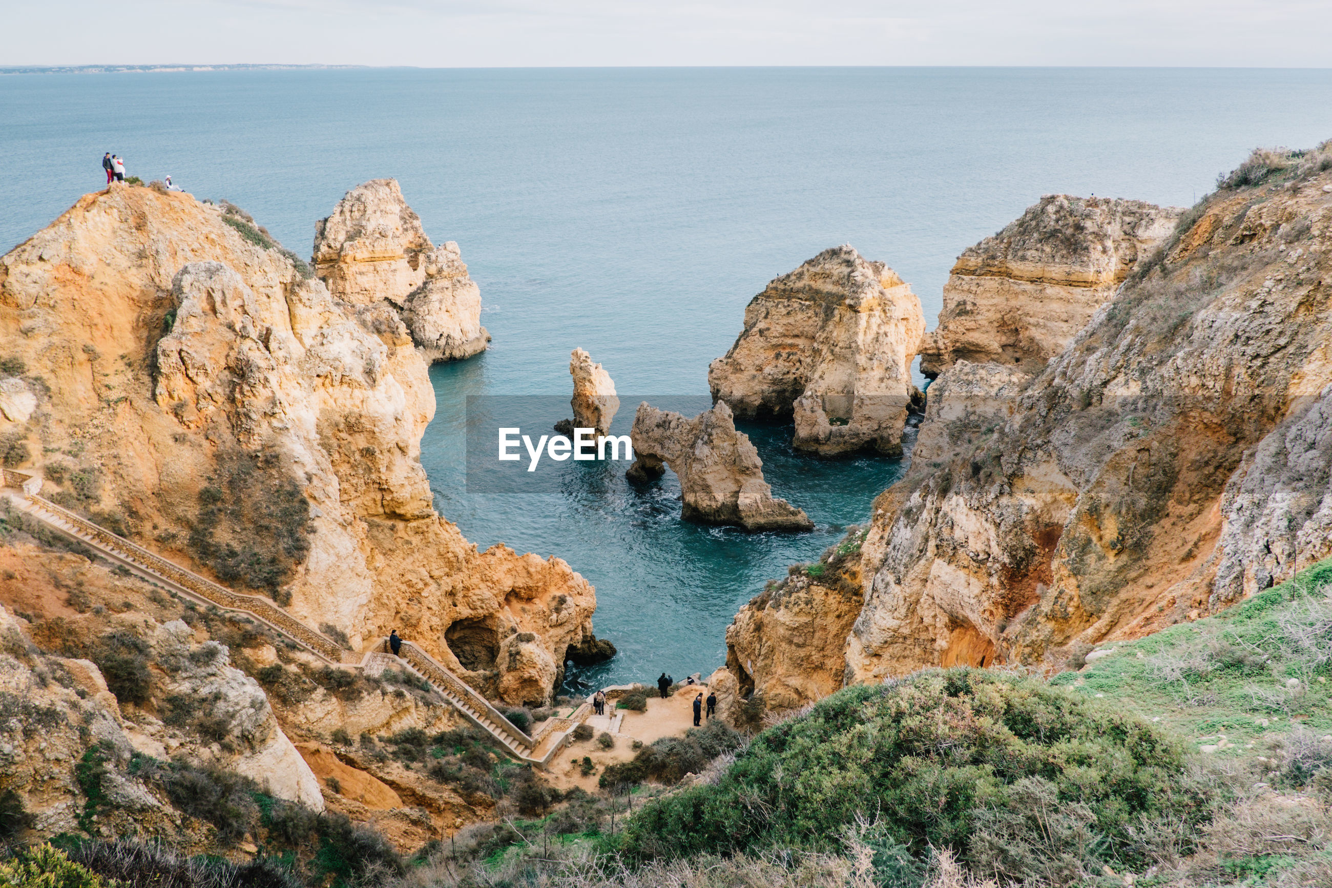PANORAMIC VIEW OF SEA AND CLIFF