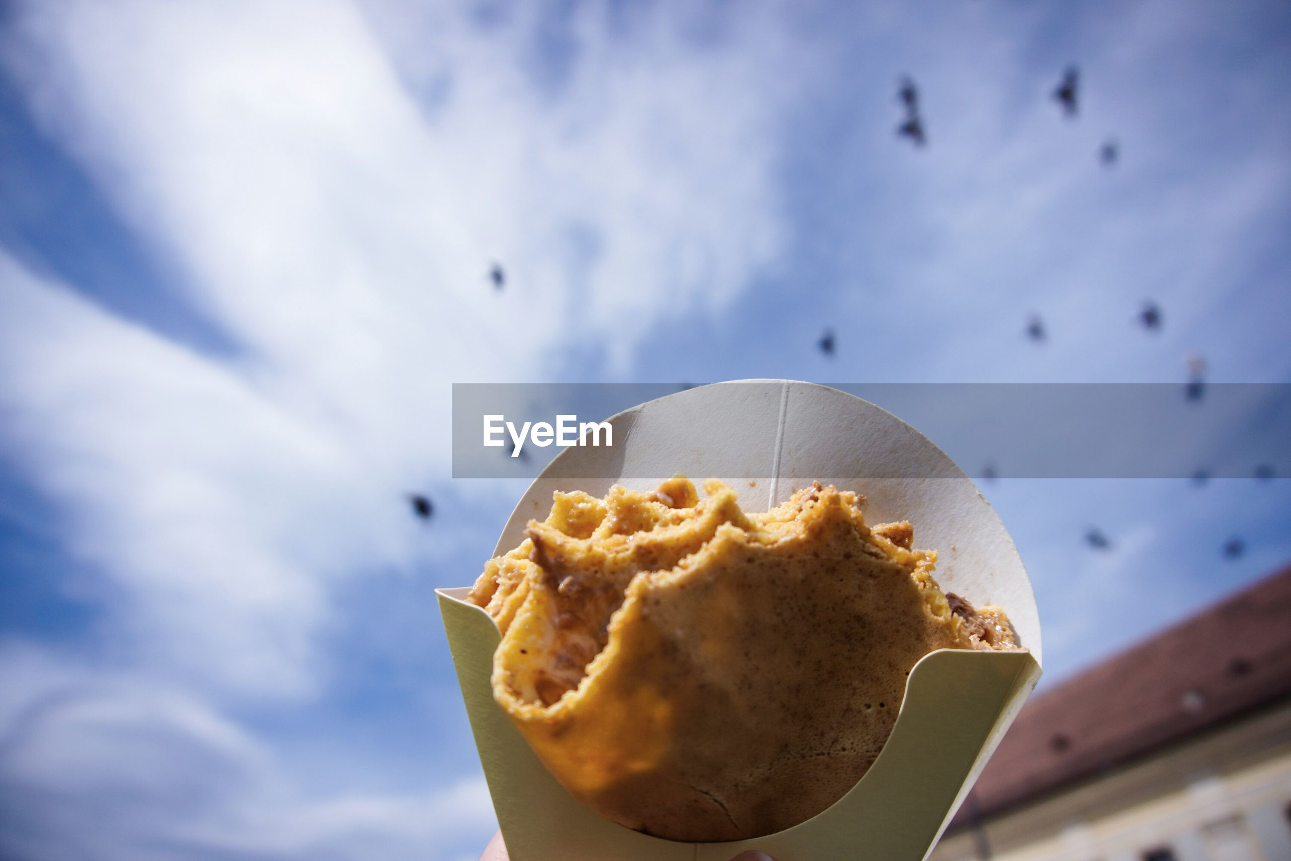 Low angle view of crepe against cloudy sky