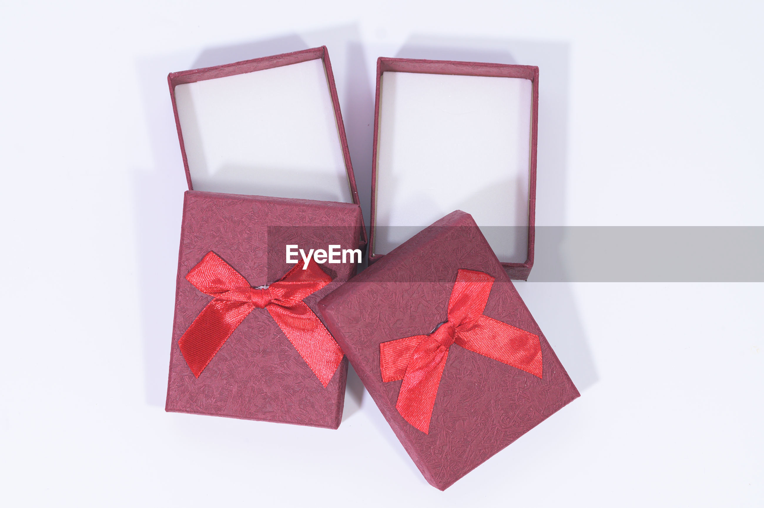 Close-up of gift boxes against white background