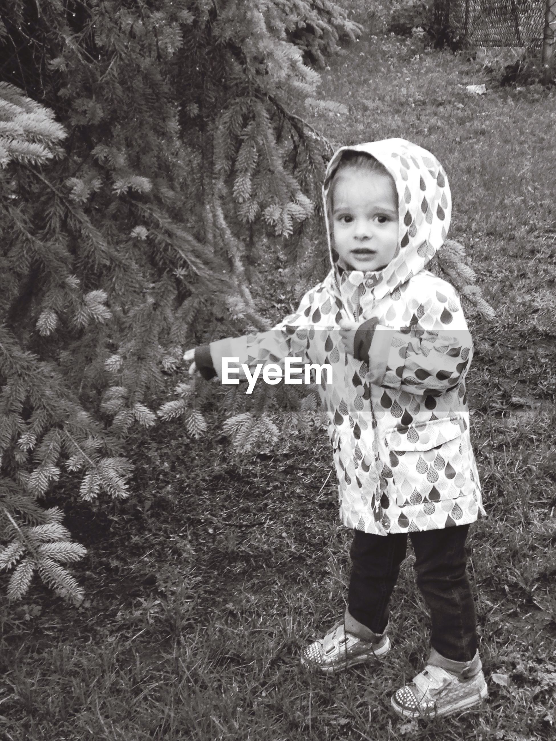 Full length portrait of girl wearing raincoat while pointing at tree in backyard
