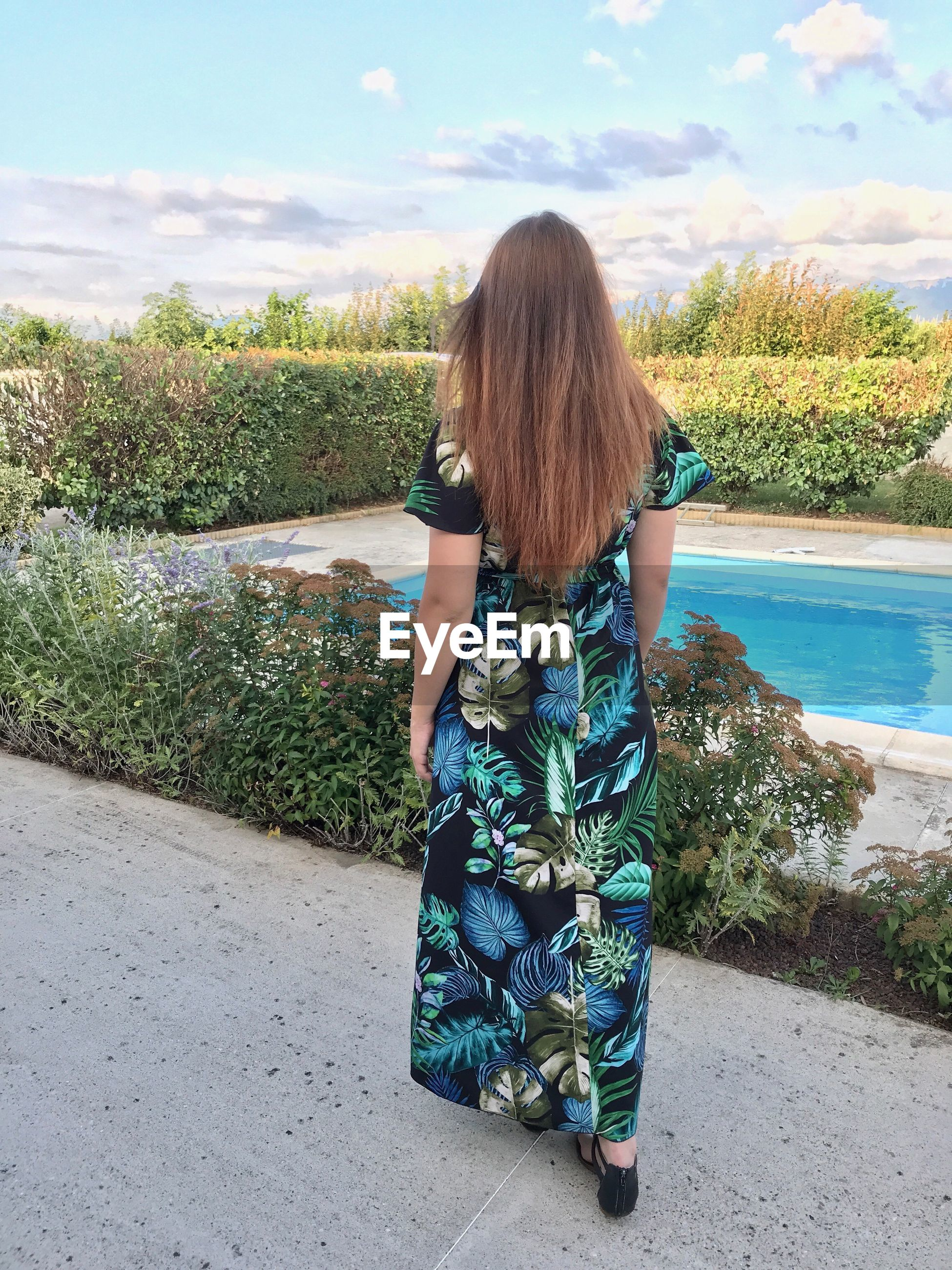 Rear view of woman walking by plants against sky