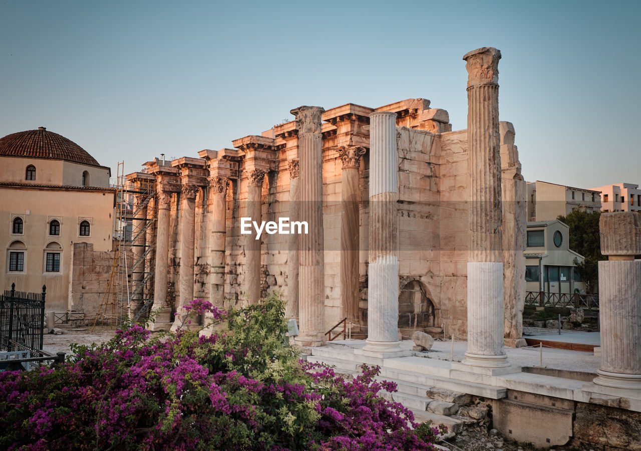 built structure, architecture, building exterior, sky, history, the past, ancient, nature, architectural column, building, clear sky, no people, travel destinations, day, ancient civilization, old ruin, travel, old, outdoors, plant, ruined, archaeology