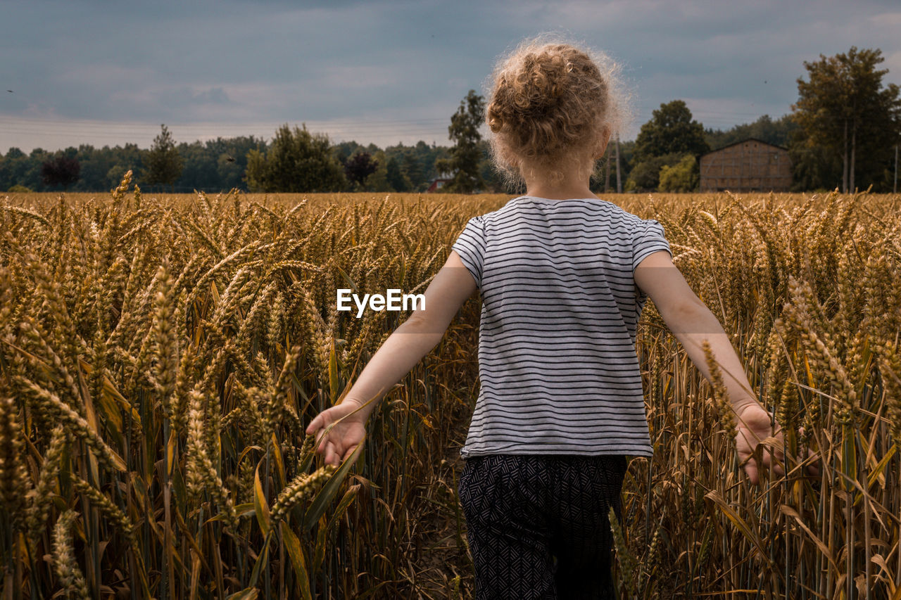 Rear View Of Girl Standing On Wheat Field