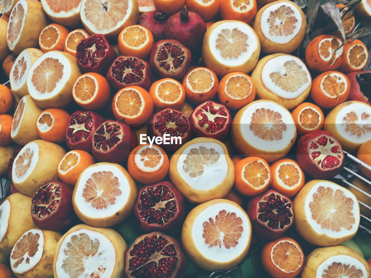 High Angle View Of Citrus Fruits