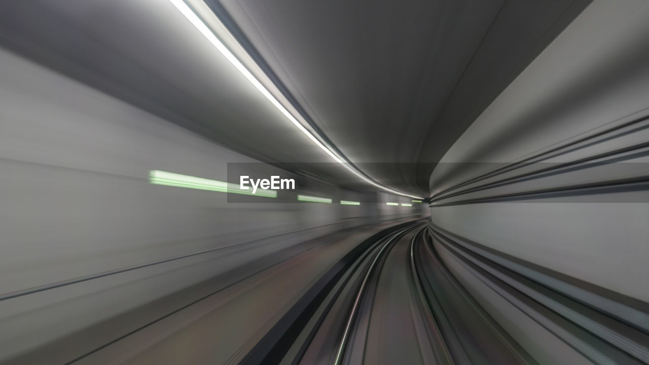 Blurred Motion Of Train In Railroad Tunnel