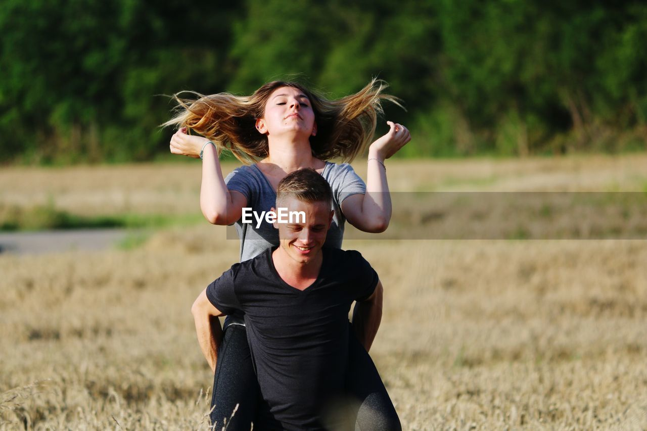 Happy Couple On Field