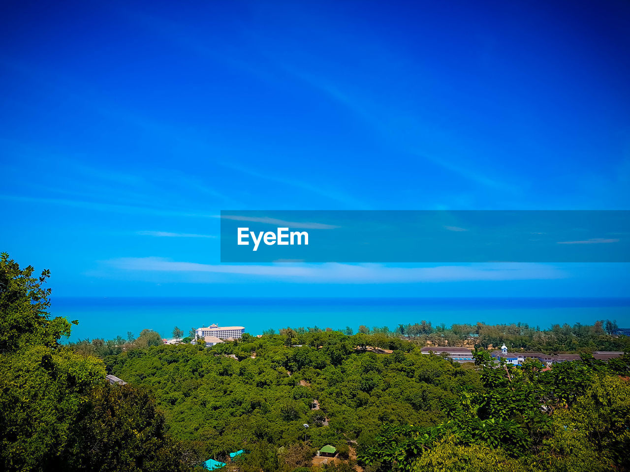 blue, sky, scenics - nature, tree, beauty in nature, plant, water, tranquil scene, tranquility, sea, nature, day, growth, green color, cloud - sky, horizon, non-urban scene, land, idyllic, horizon over water, no people, outdoors, turquoise colored