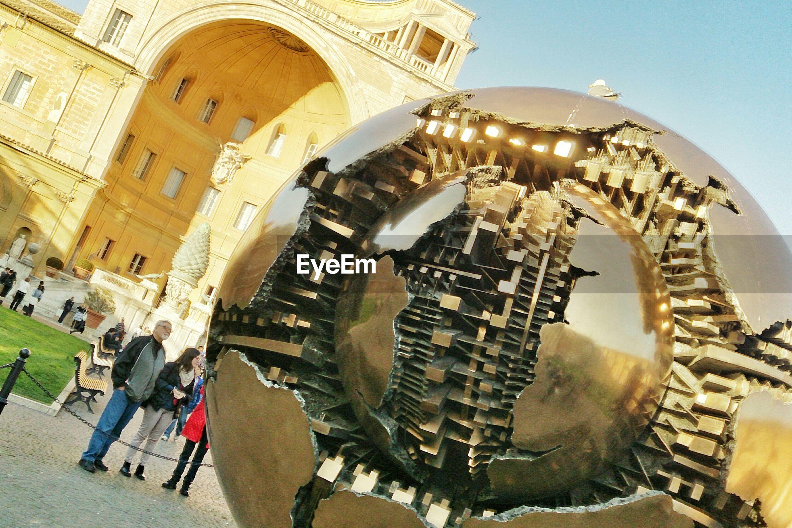 Futuristic monument on town square