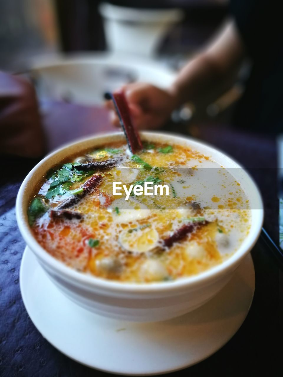 Close-Up Of Served Soup In Bowl