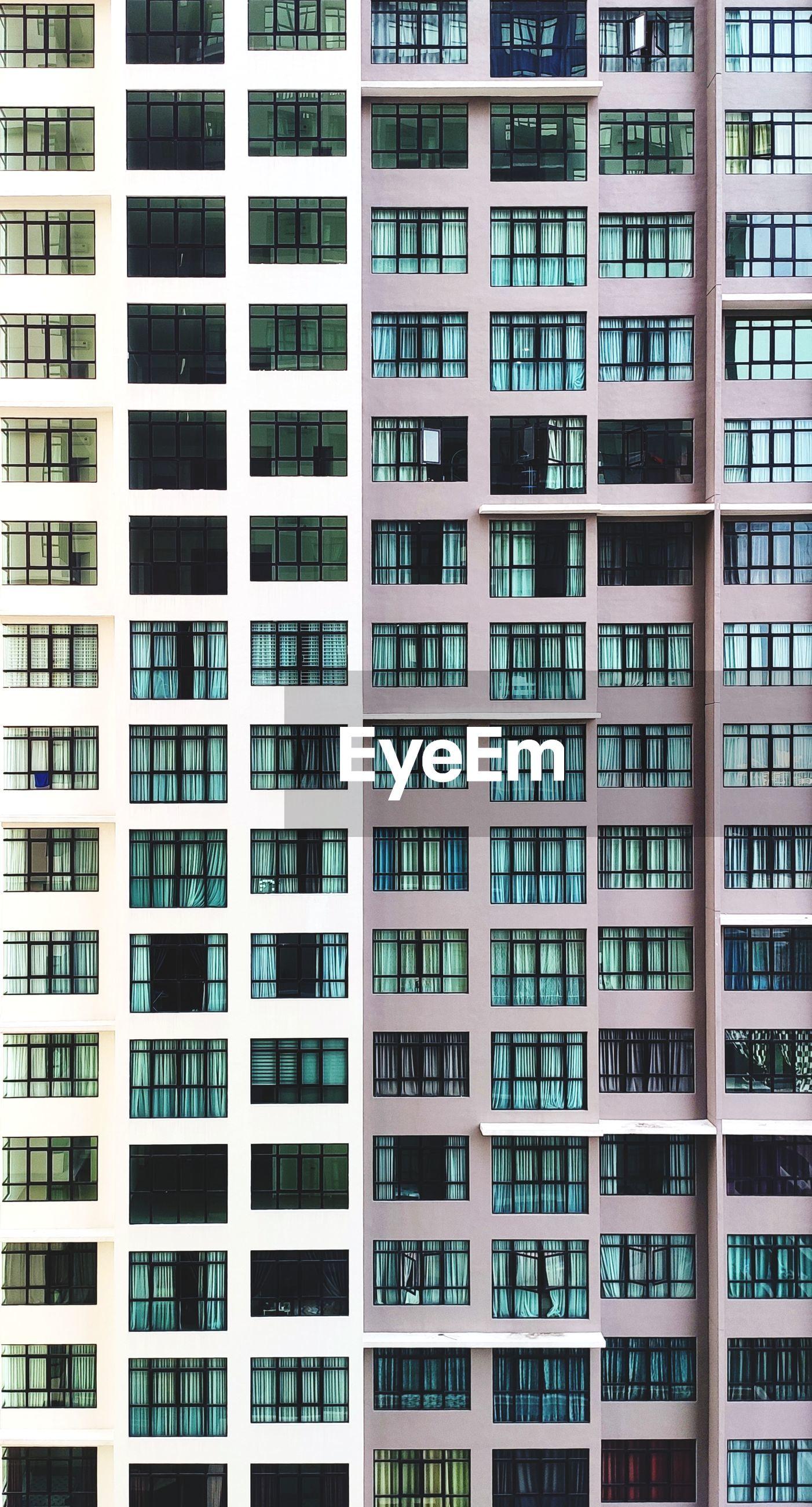 Full frame shot of residential apartment building