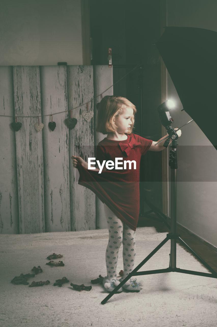 Portrait Of Girl In Photography Studio