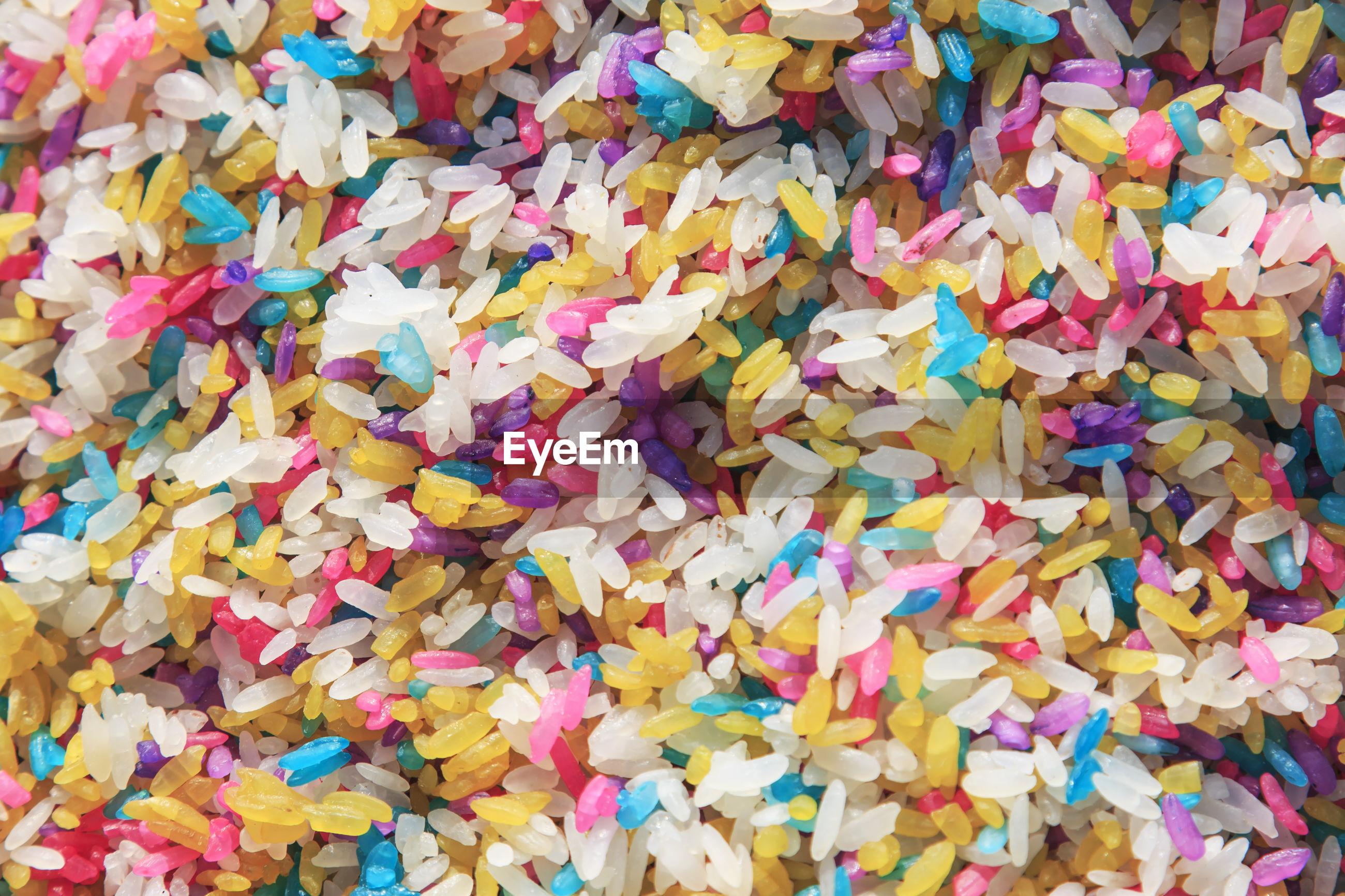 Full frame shot of multi colored rice grain