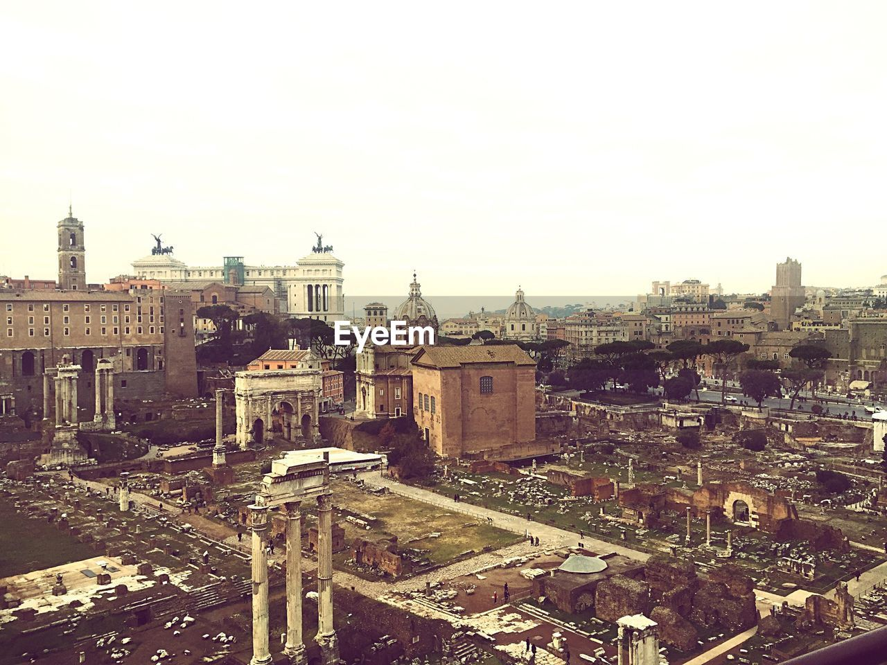 High angle view of old ruins at Roman Forum