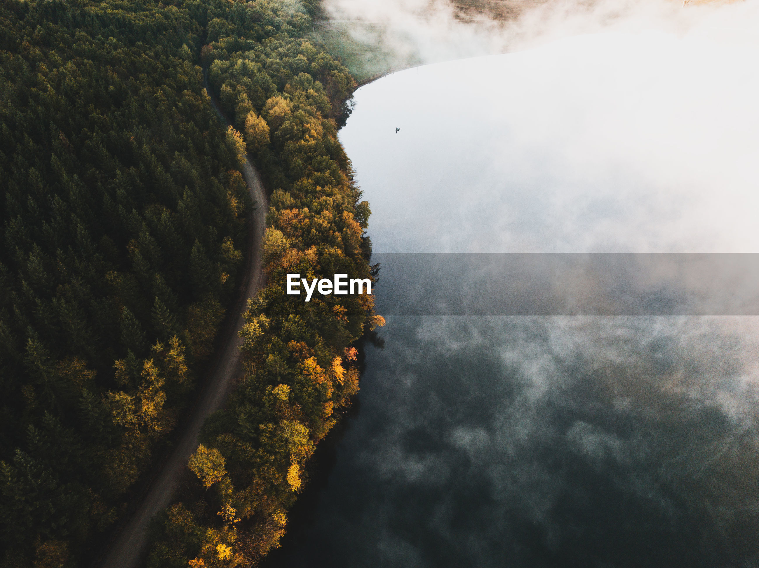 Aerial view of autumn forest by lake during foggy weather
