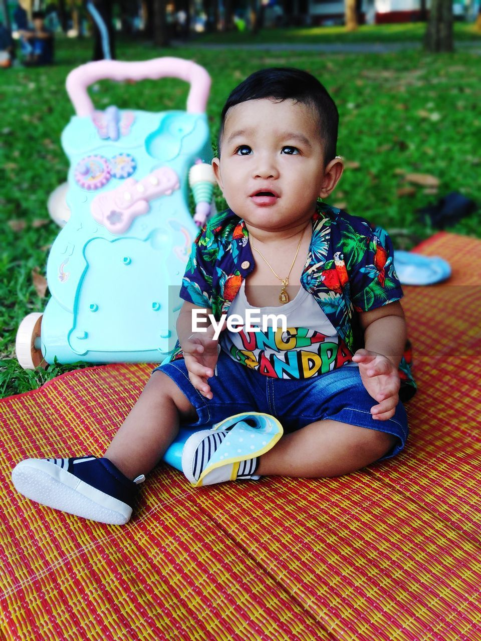 child, childhood, sitting, real people, front view, full length, one person, cute, innocence, boys, casual clothing, babyhood, looking, leisure activity, baby, males, lifestyles, looking away, toddler, outdoors