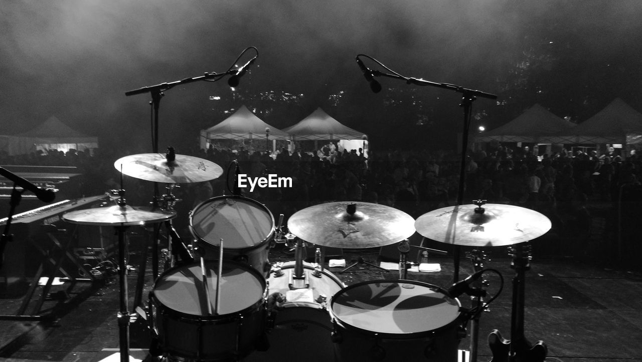 Drum Kit On Stage During Music Concert At Night