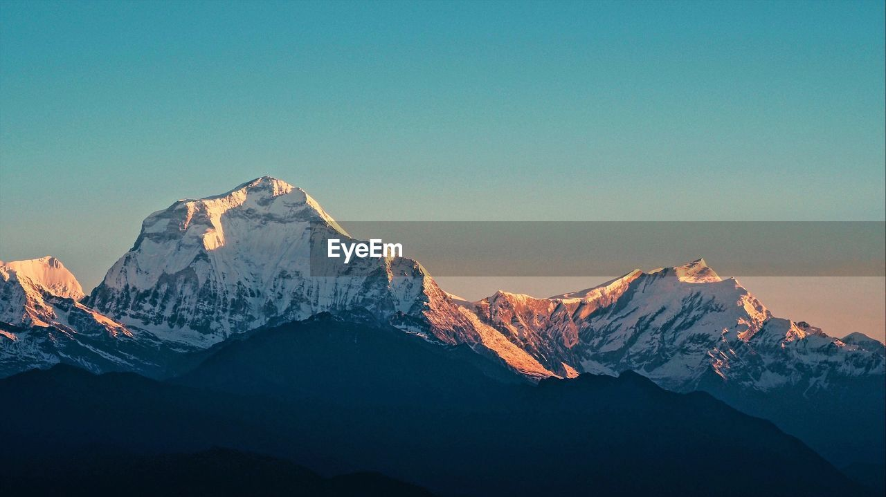 PANORAMIC VIEW OF SNOWCAPPED MOUNTAINS AGAINST CLEAR SKY