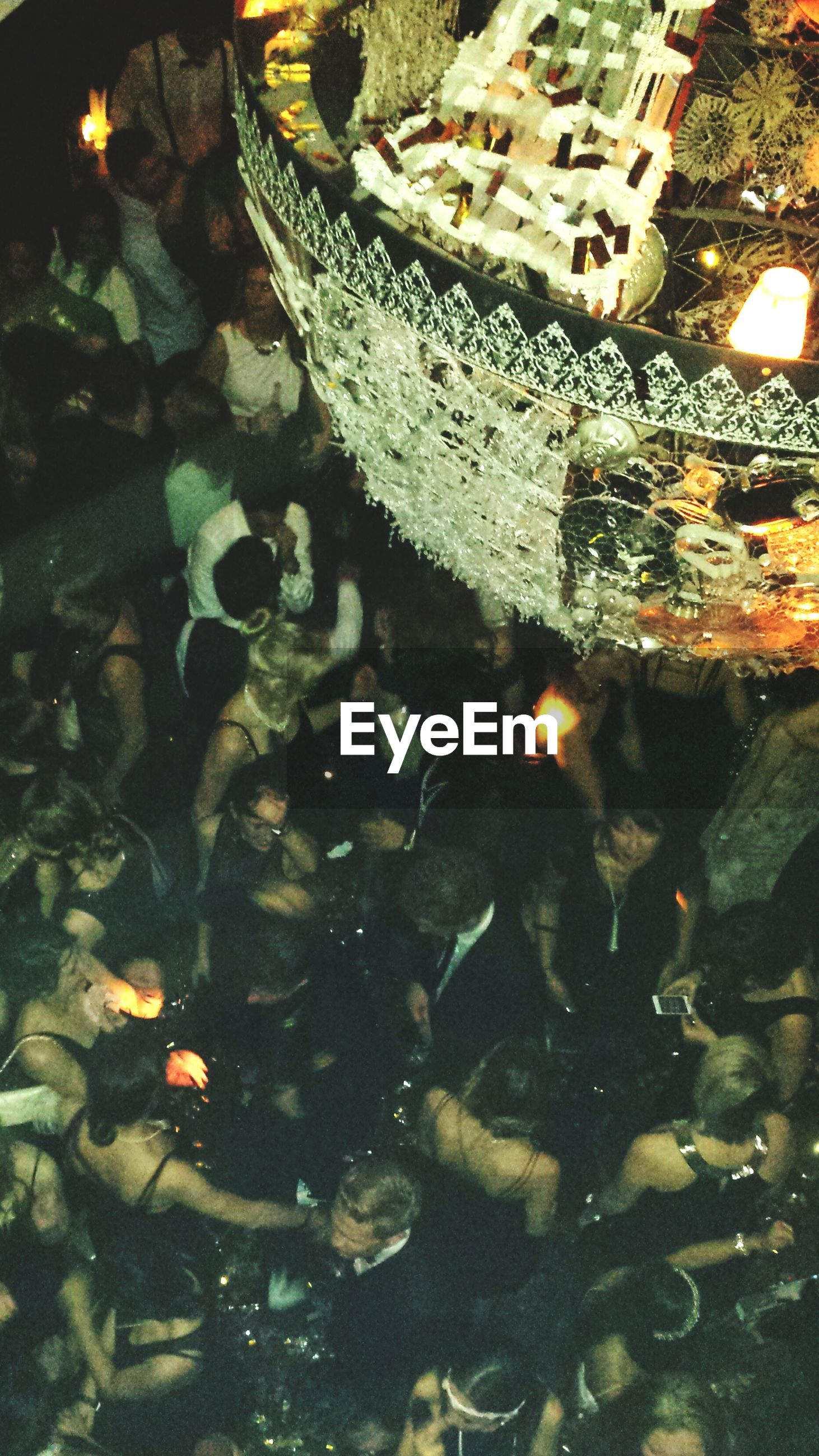 High Angle View Of People At Party
