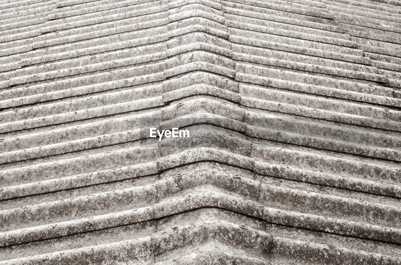 full frame, backgrounds, pattern, no people, textured, close-up, day, architecture, built structure, high angle view, repetition, nature, roof, outdoors, metal, roof tile, design, sunlight, wave pattern, silver colored
