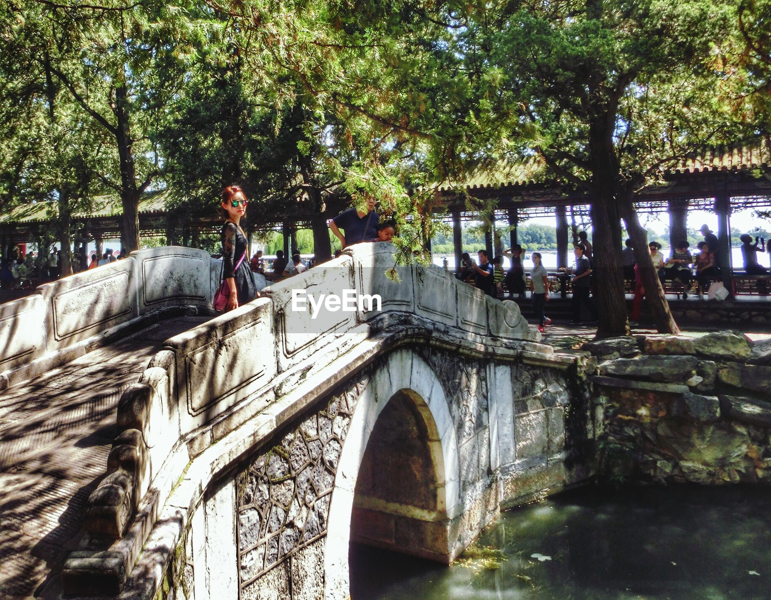 architecture, built structure, tree, building exterior, water, arch, bridge - man made structure, canal, reflection, arch bridge, connection, day, outdoors, river, incidental people, railing, old, footbridge, branch, waterfront
