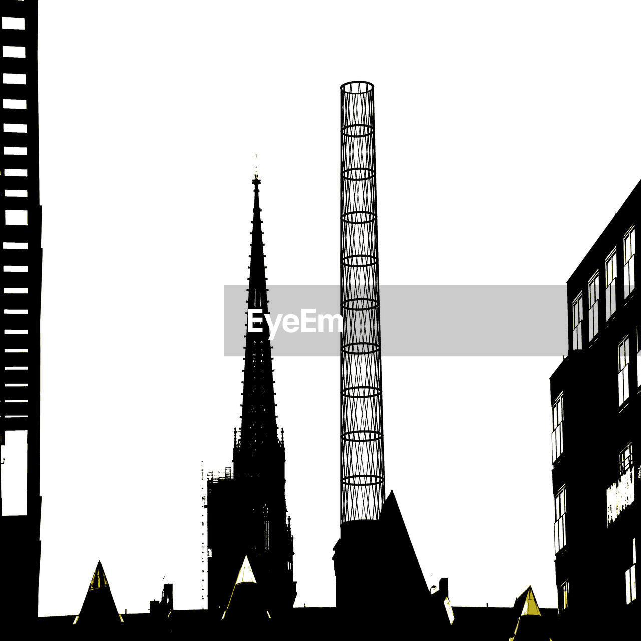 built structure, architecture, low angle view, building exterior, silhouette, skyscraper, clear sky, modern, outdoors, day, city, sky, no people