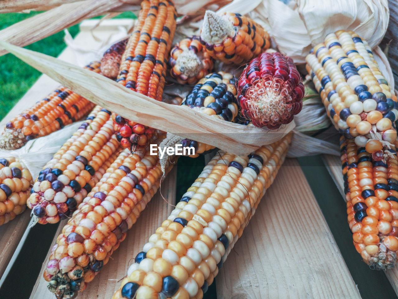 Multi coloured corn on the cob