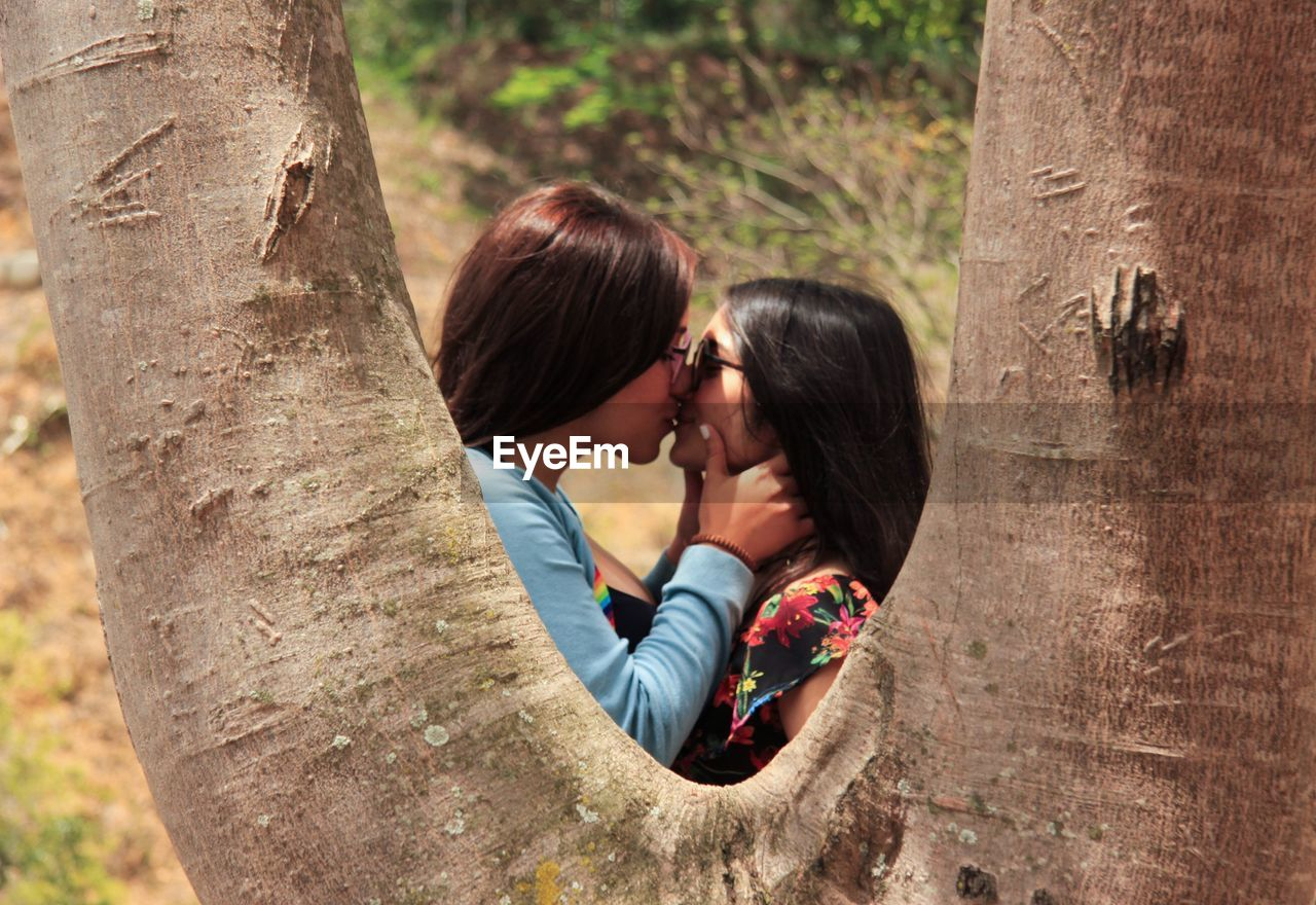 Side View Of Lesbian Couple Kissing On Mouth Seen Through Tree Trunk At Public Park