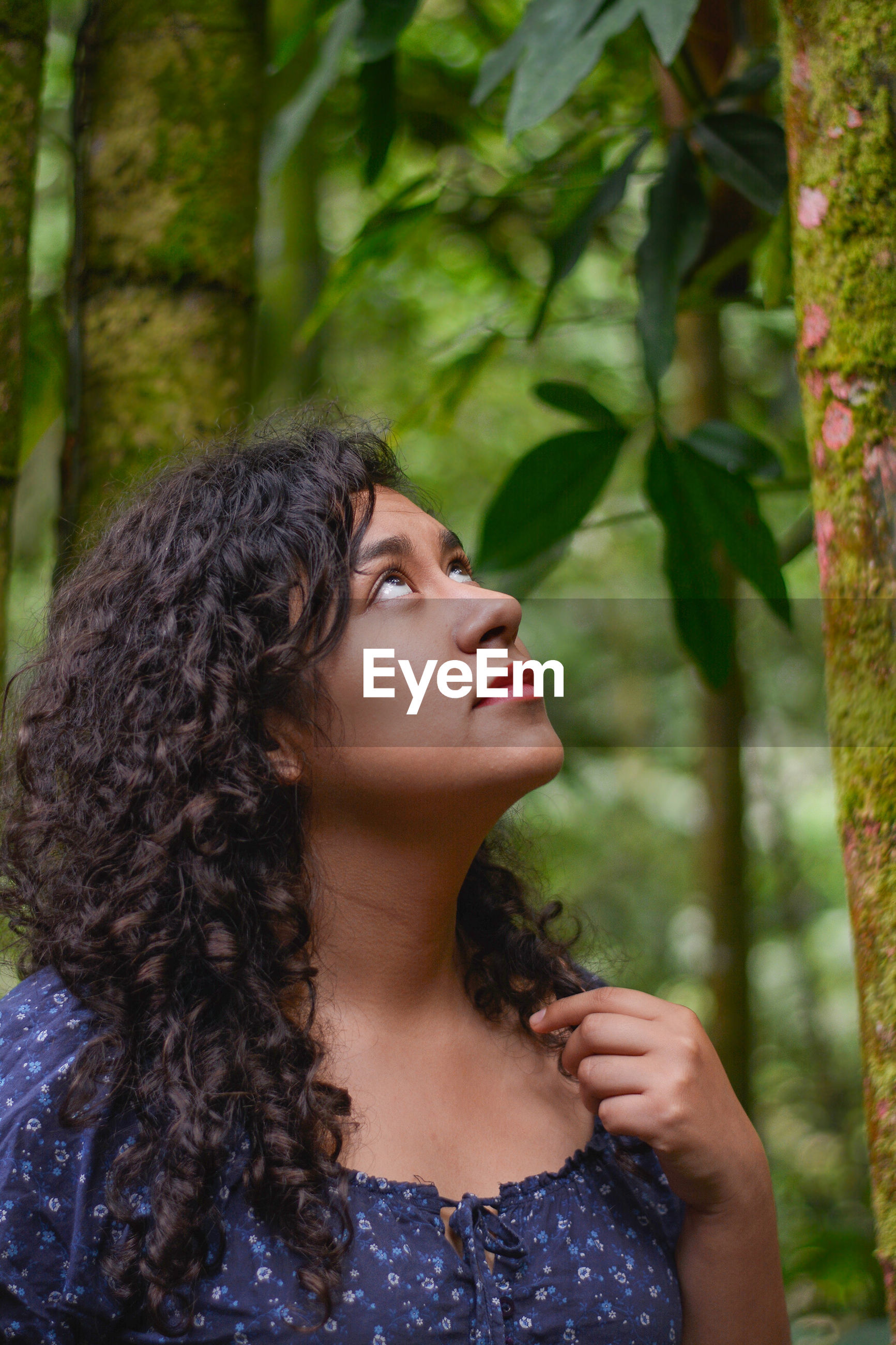 Woman with curly hair looking up while standing by tree