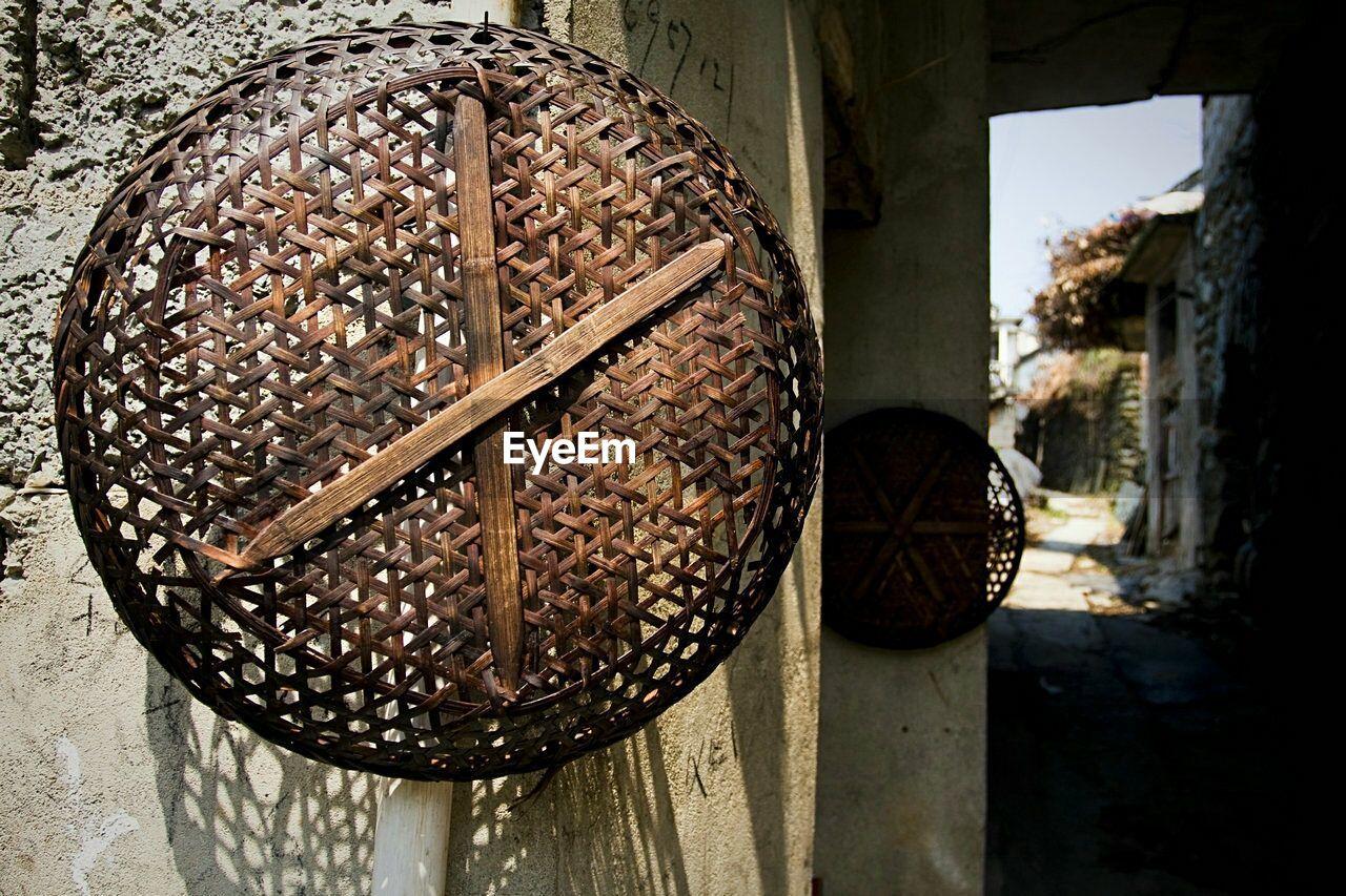 Wicker Baskets Handing On Wall