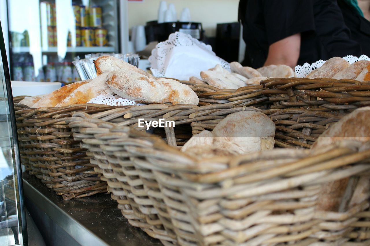 Close-up of bread in baskets