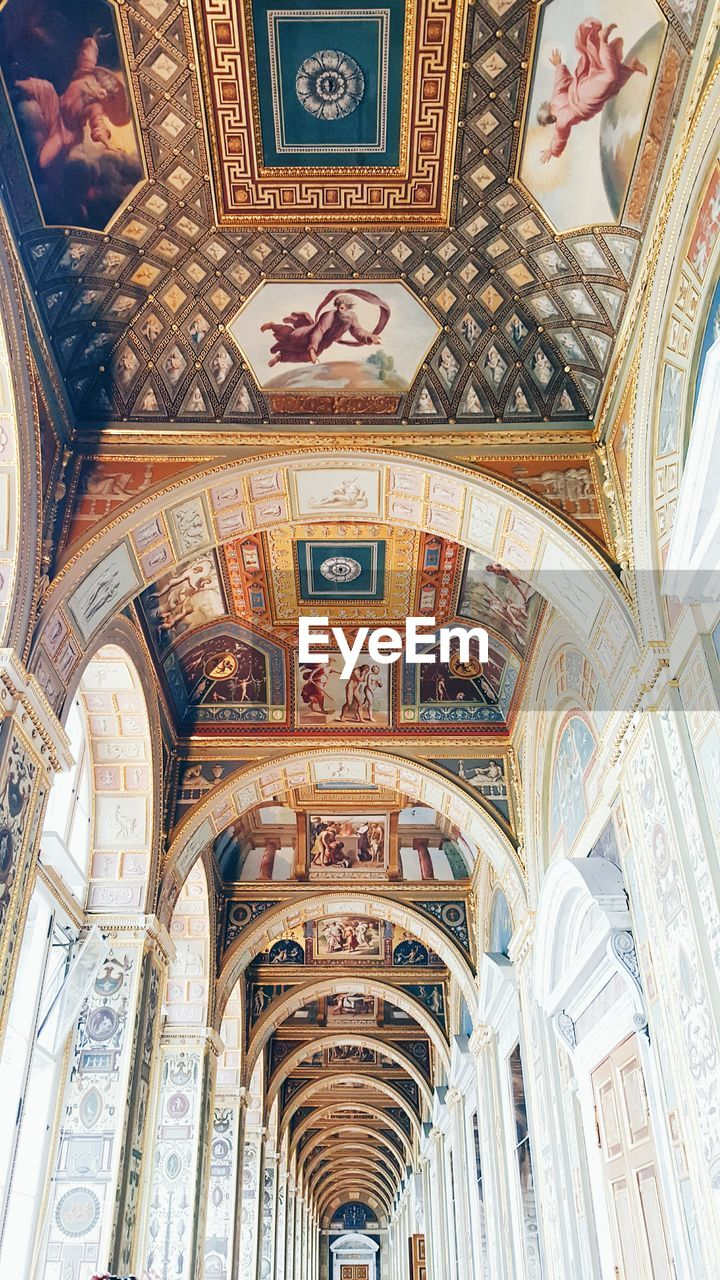 architecture, religion, history, fresco, ornate, ceiling, indoors, arch, place of worship, low angle view, no people, day