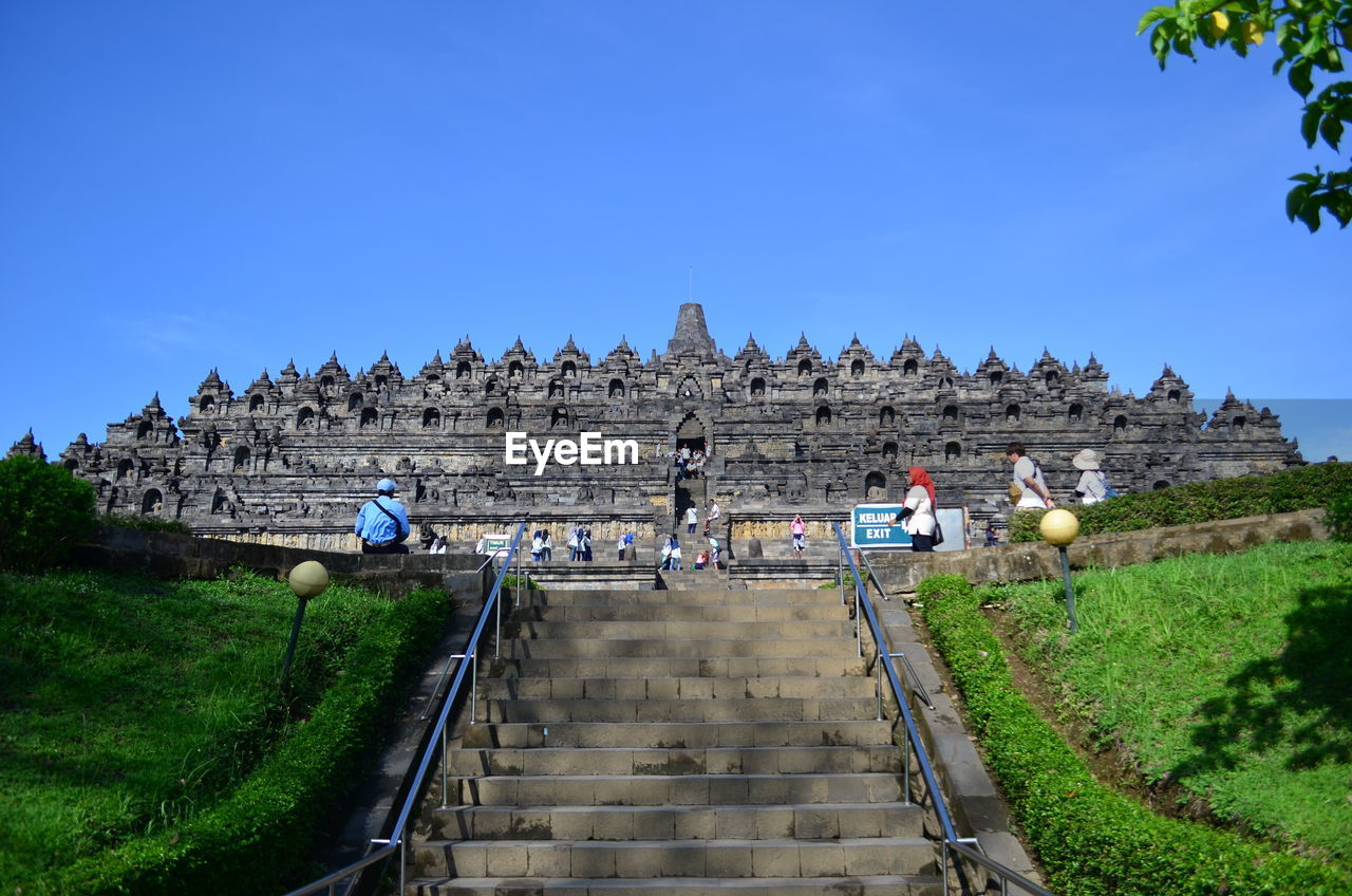 Low Angle View Of Steps Leading Towards Borobudur Temple Against Clear Sky
