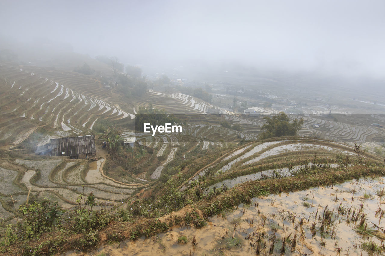View Orf Rice Terraces In Sapa, Vietnam In Foggy Weather