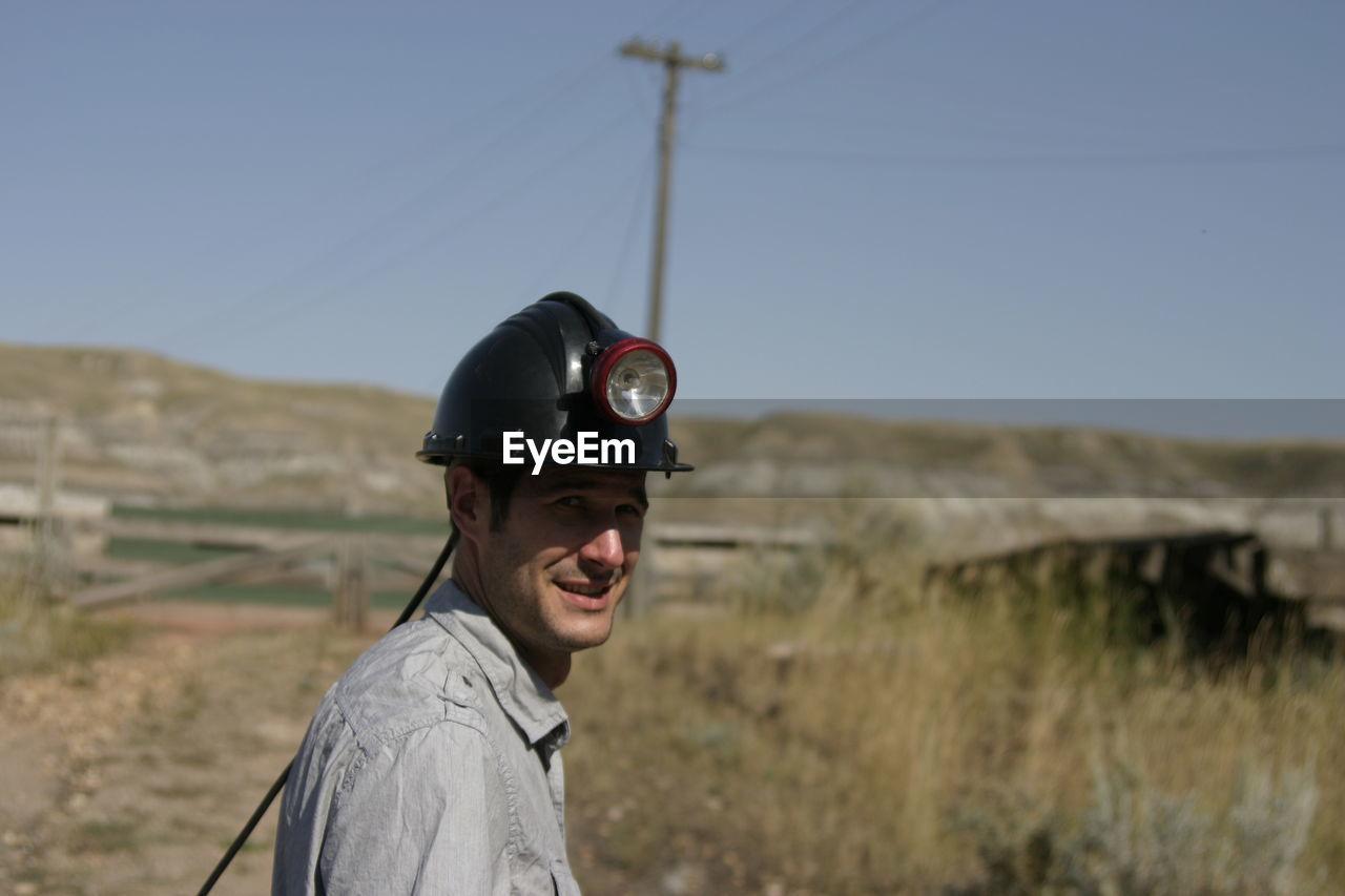 Portrait of a miner smiling