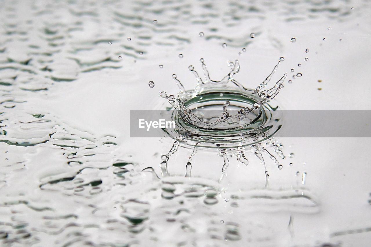 Close-Up Of Splashing Droplet On Puddle