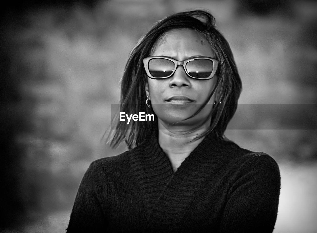 Close-Up Woman Wearing Sunglasses