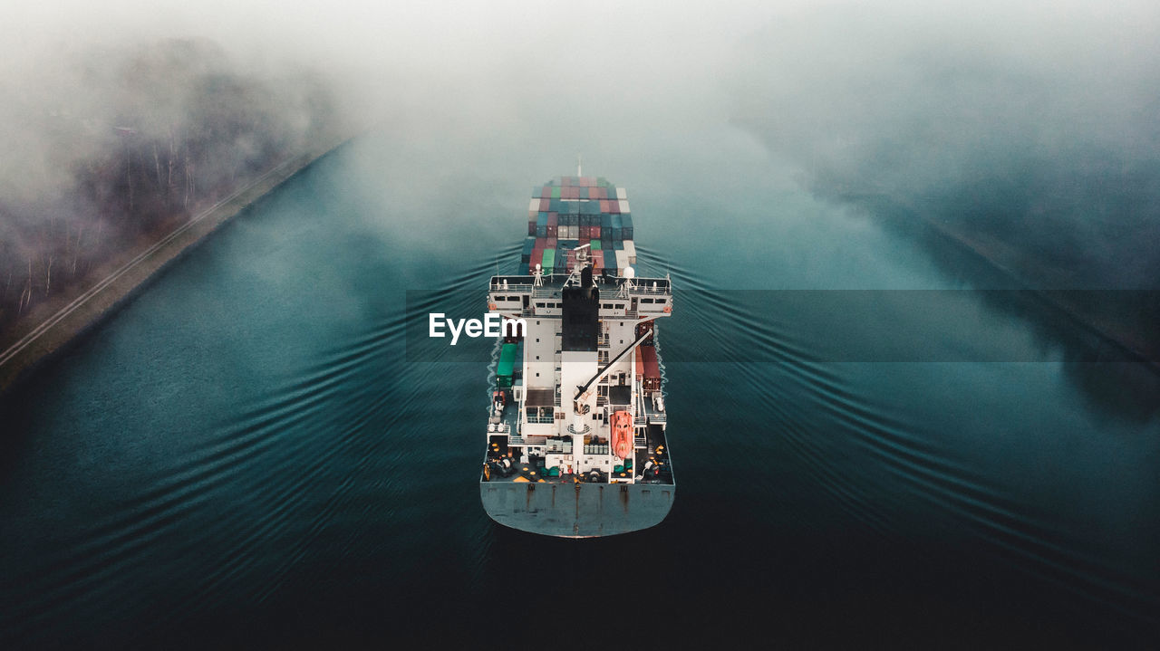 Aerial view of freight transportation on sea