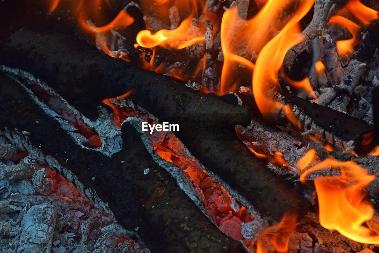 Full Frame Shot Of Burning Firewood