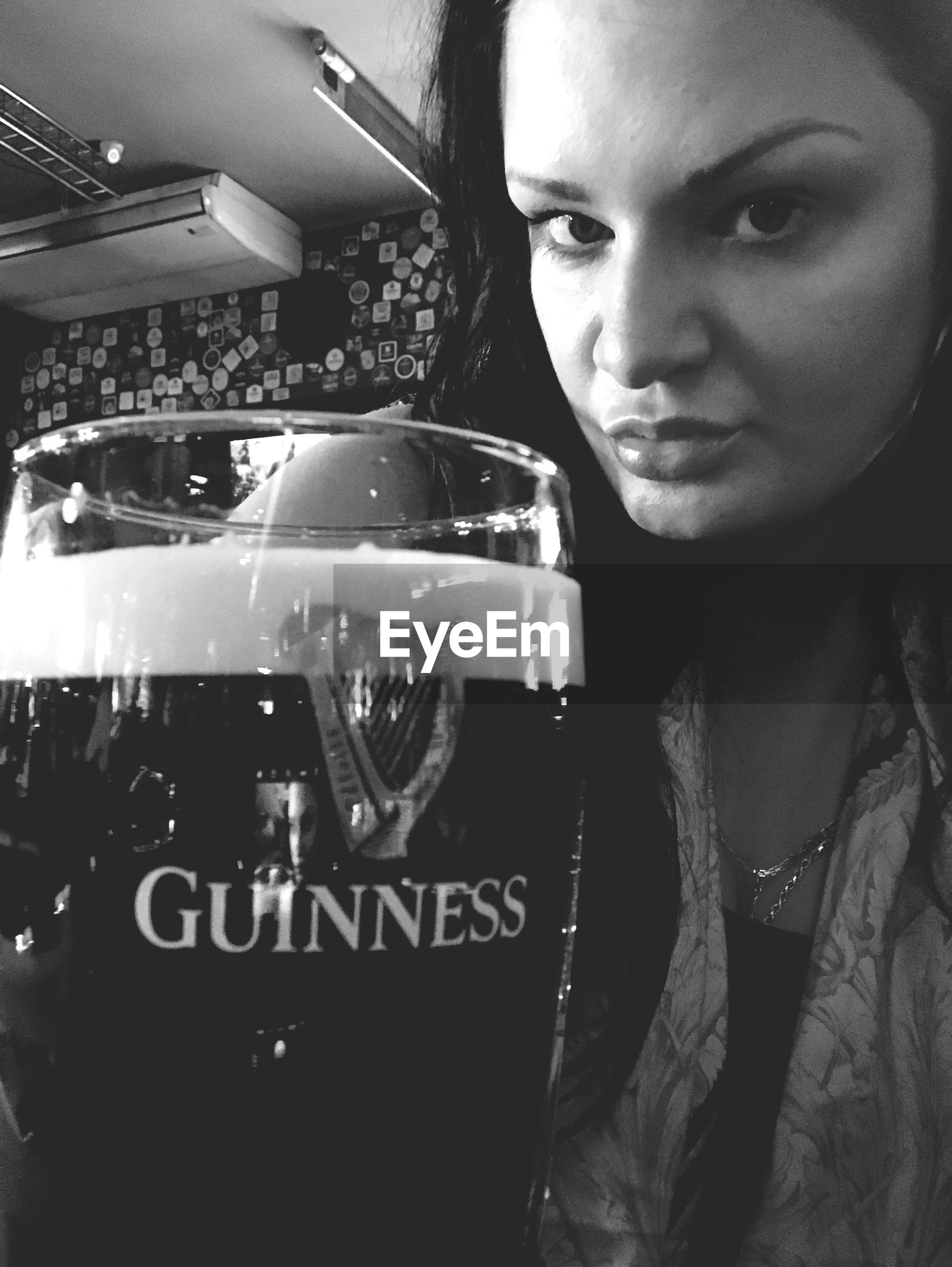 drink, alcohol, refreshment, one person, beer glass, drinking, real people, food and drink, frothy drink, close-up, headshot, portrait, freshness, young adult, indoors, young women, day, adult, people