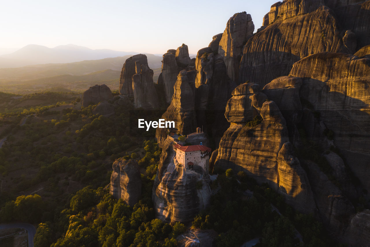Scenic view of rock formations during sunset