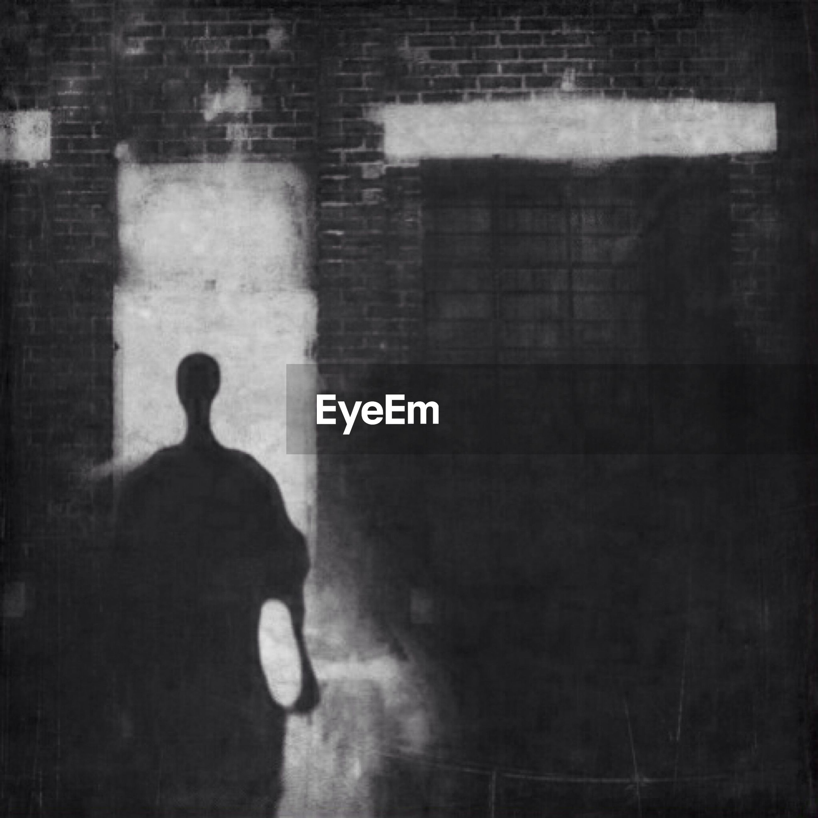 Shadow of person on brick wall