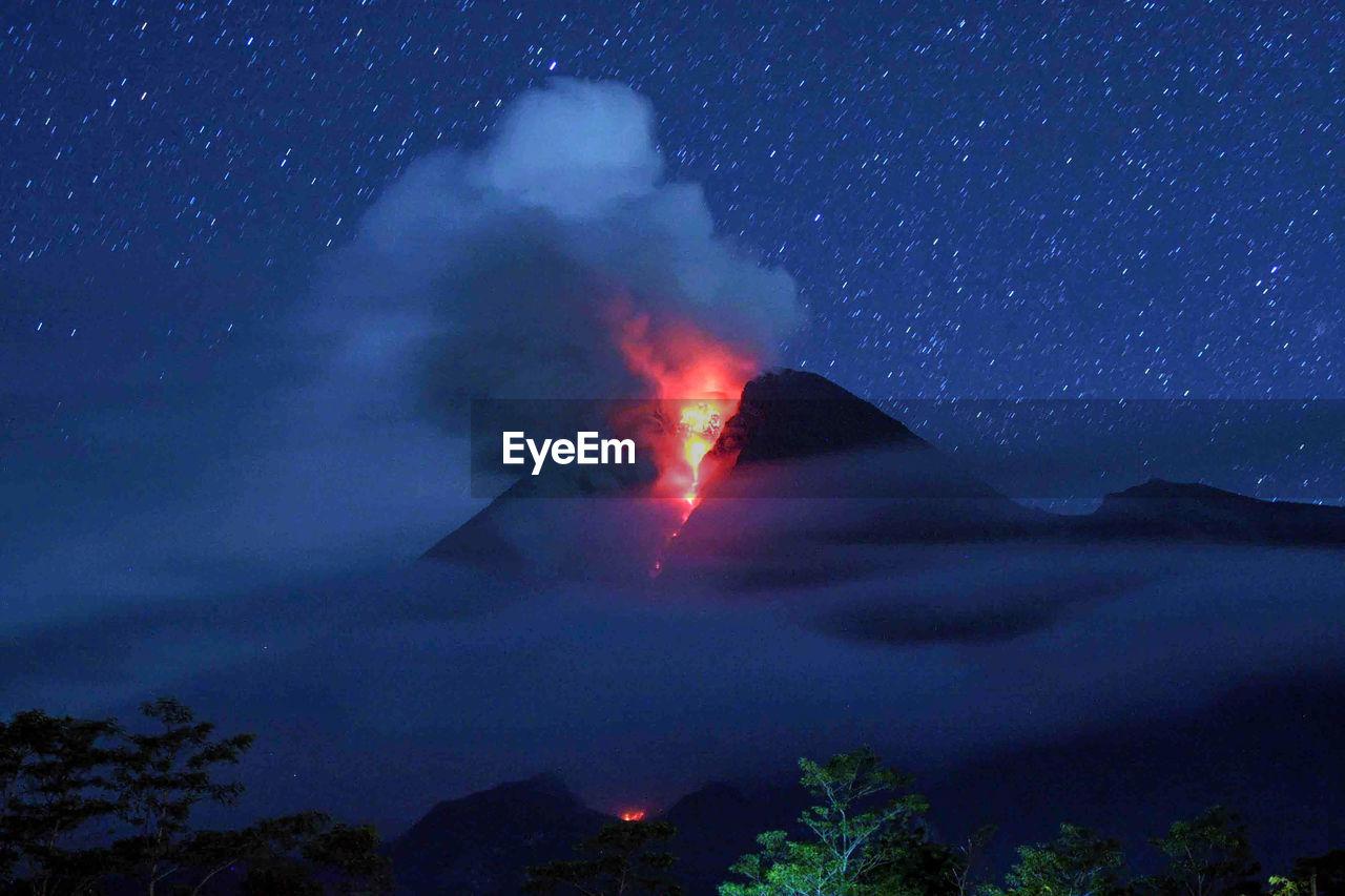 Mount merapi eruption in java