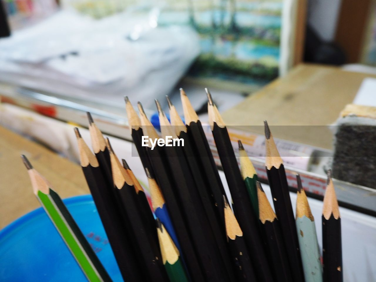 large group of objects, art and craft, multi colored, no people, focus on foreground, pencil, indoors, choice, writing instrument, close-up, still life, variation, colored pencil, creativity, table, collection, high angle view, selective focus, craft, paper, art and craft equipment