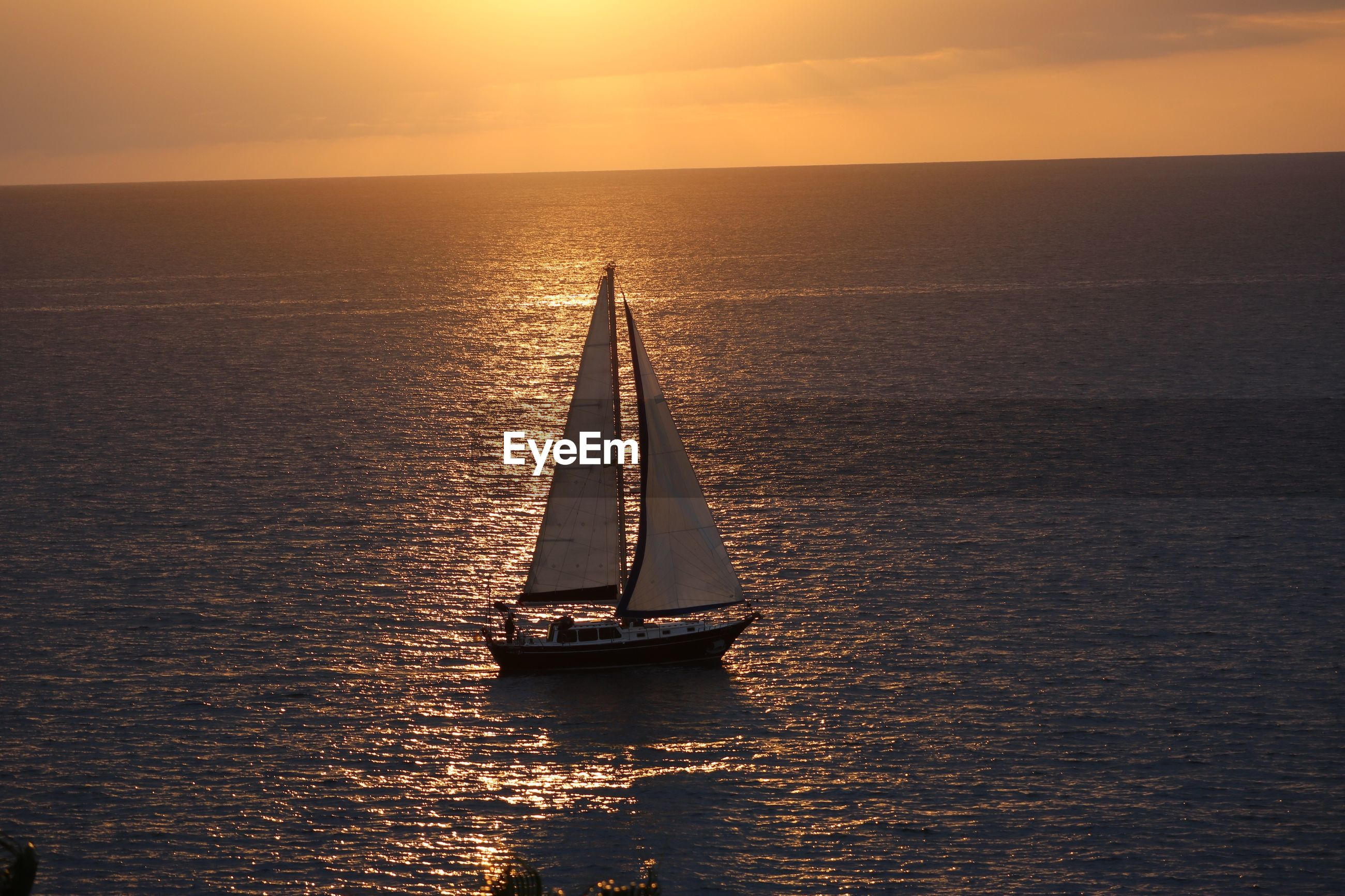 Sailboat moving in sea against sky during sunset