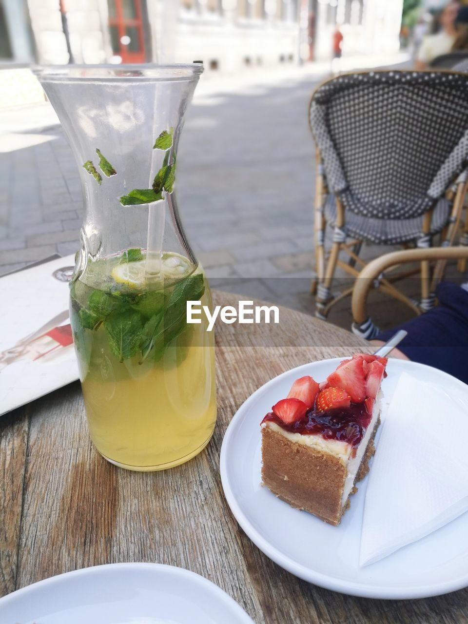 table, food and drink, food, freshness, drink, refreshment, plate, household equipment, still life, serving size, drinking glass, glass, ready-to-eat, no people, wood - material, close-up, indoors, focus on foreground, healthy eating, wellbeing, temptation, herb, mint leaf - culinary